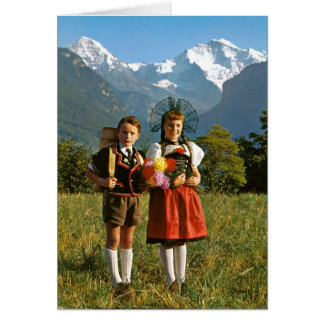 Swiss boy and girl card