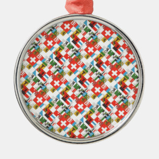 Swiss cantonial flags christmas ornament