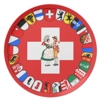 Swiss cantons and costumes party plates