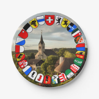 Swiss cantons coat of arms paper plate