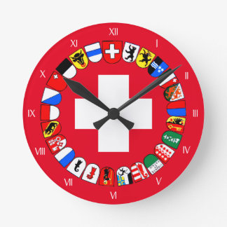 Swiss cantons coat of arms wall clocks