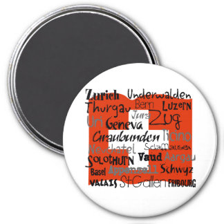 Swiss Cantons Lg Button 7.5 Cm Round Magnet