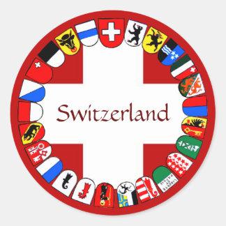 Swiss cantons round sticker