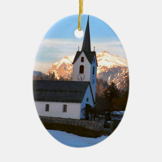 Swiss church in the mountains christmas ornament