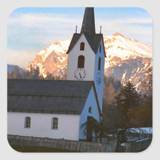 Swiss church in the mountains square sticker