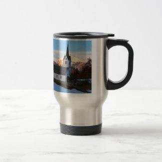 Swiss church in the mountains travel mug