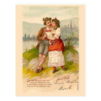 Swiss couple by the lake 1912 postcard