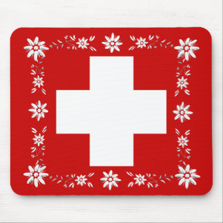 Swiss flag and edelweiss 2 mousepad