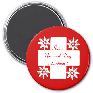 Swiss flag and edelweiss 7.5 cm round magnet