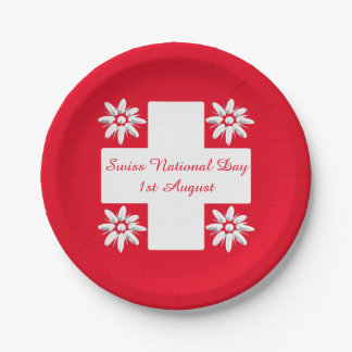 Swiss flag and edelweiss 7 inch paper plate