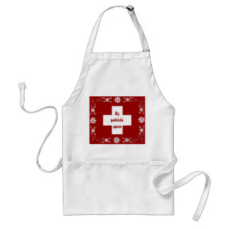 Swiss flag and edelweiss adult apron