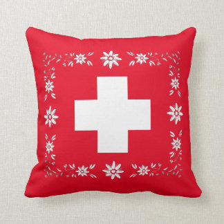 Swiss flag and edelweiss cushion