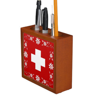 Swiss flag and edelweiss desk organiser