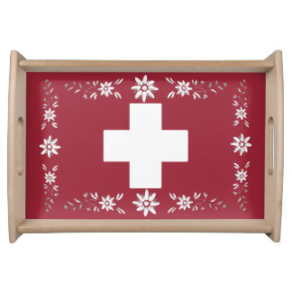 Swiss flag and edelweiss food tray