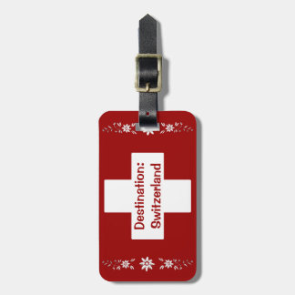 Swiss flag and edelweiss luggage tags