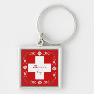 Swiss flag and edelweiss Silver-Colored square key ring