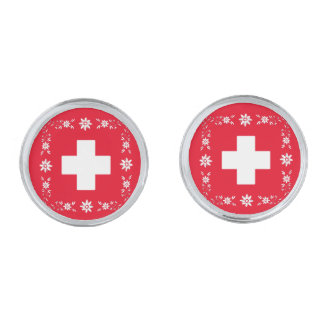 Swiss flag and edelweiss silver finish cuff links