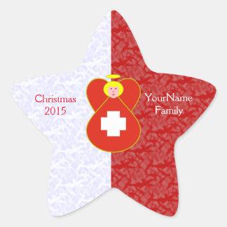 Swiss Flag Angel Blonde Red White Star Sticker