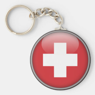 Swiss Flag - Flag of Switzerland Basic Round Button Key Ring