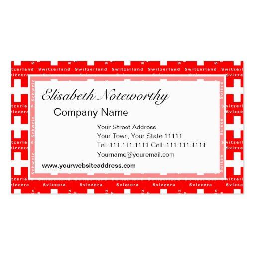 Swiss Flag I Love Switzerland Red and White Business Card