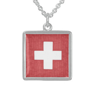 Swiss flag necklace
