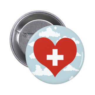 Swiss Flag on a cloudy background 6 Cm Round Badge