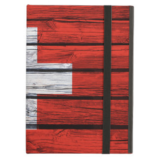 Swiss Flag Painted on Rustic Wood Case For iPad Air