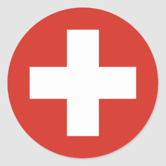 Swiss Flag Red Cross Classic Round Sticker