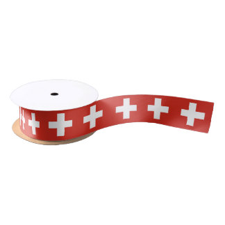 Swiss flag ribbon satin ribbon