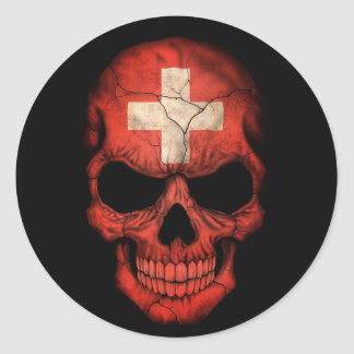 Swiss Flag Skull on Black Classic Round Sticker