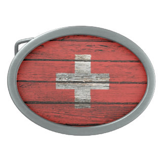 Swiss Flag with Rough Wood Grain Effect Oval Belt Buckles