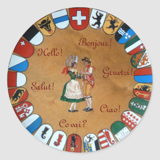Swiss flags! classic round sticker