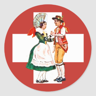 Swiss folk dancing classic round sticker