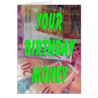 Swiss Francs Birthday Money Card