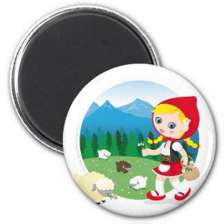 Swiss girl 6 cm round magnet