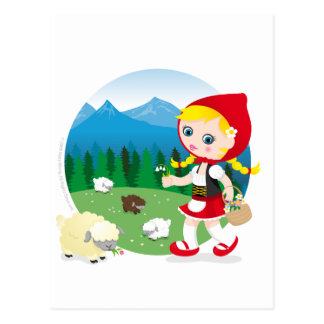 Swiss girl postcard
