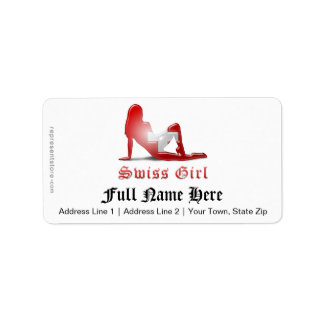 Swiss Girl Silhouette Flag Address Label