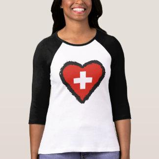 Swiss Heart - I Love Switzerland Raglan T-Shirt. T Shirts