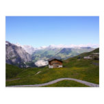 Swiss house and alps postcards