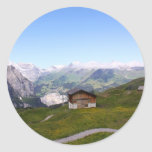 Swiss house and alps round stickers