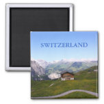 Swiss house and alps square magnet