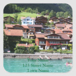 Swiss houses square stickers