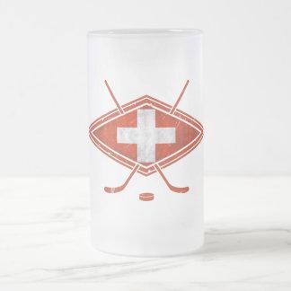 Swiss Ice Hockey Flag Frosted Glass Beer Mug
