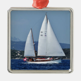 Swiss Ketch in Corsica. Christmas Ornament