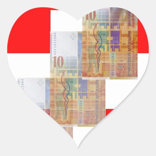 Swiss Money & Flag Heart Sticker