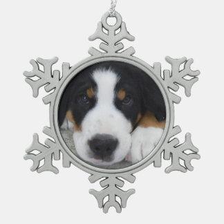 Swiss Mountain Dog Pewter Snowflake Ornament