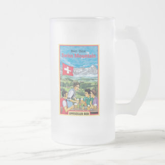 Swiss Mountain Frosted Glass Beer Mug