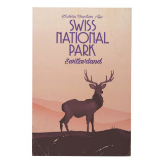 Swiss national park vintage travel poster