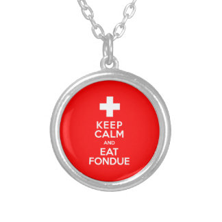Swiss Party! Keep Calm and Eat Fondue! Round Pendant Necklace