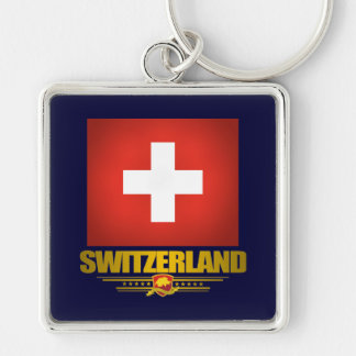 """Swiss pride"" Silver-Colored Square Key Ring"